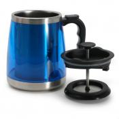 Coffee Mug with French Press - Blue