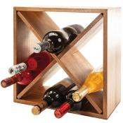 Natural Living Acacia Wood 12 Bottle Wine Rack