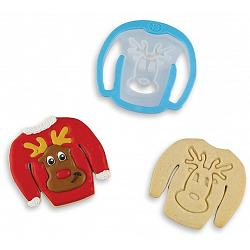 Bakelicious Reindeer Ugly Sweater Cookie Cutter 1