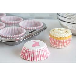 Fox Run Pink Gingham Bunny Baking Cup Set of 50 2
