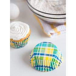 Fox Run Yellow & Aqua Madras Baking Cup Set of 50 2