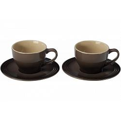 Le Creuset Truffle Cappuccino Cups and Saucers Set of 2 1
