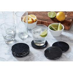 Fox Run Black Marble Coaster Set of 6 1