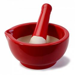 BIA Cordon Bleu Red Stoneware Mortar & Pestle 1