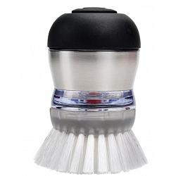 Oxo Steel Soap Dispensing Palm Dish Brush 1