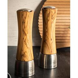 Peugeot Madras Olive Wood 16cm Salt & Pepper Mill Set 1