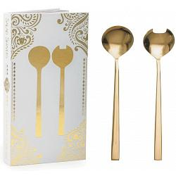 Natural Living Salad Serving Set with Gold Finish 1