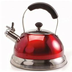 Danesco Ch\'a Zenia 2.5L Stainless Steel / Red Whistling Kettle 1