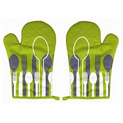 Ziczac Set of 2 Green Spoon Oven Mitts 1