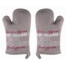 Ziczac Set of 2 Taupe Bon Appetit Oven Mitts 1