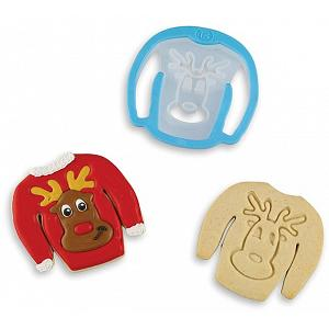 Bakelicious Reindeer Ugly Sweater Cookie Cutter