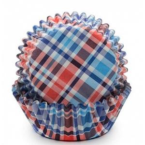 Fox Run Blue & Red Madras Baking Cup Set of 50