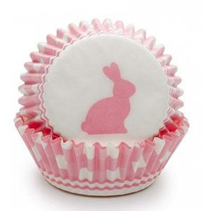 Fox Run Pink Gingham Bunny Baking Cup Set of 50
