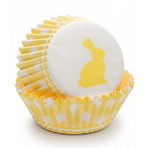 Fox Run Yellow Gingham Bunny Baking Cup Set of 50
