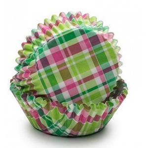 Fox Run Green & Pink Madras Baking Cup Set of 50