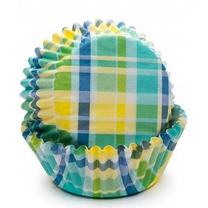 Fox Run Yellow & Aqua Madras Baking Cup Set of 50