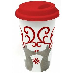 BIA Double Walled Reindeer Christmas Travel Mug