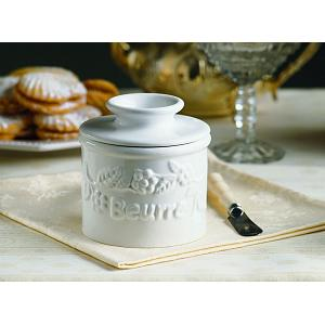 Butter Bell Classic White Raised Floral Butter Crock