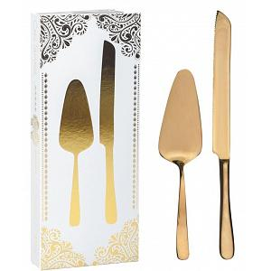 Natural Living Cake Serving Set with Gold Finish
