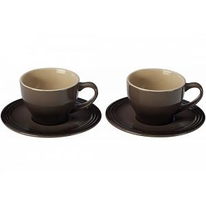 Le Creuset Truffle Cappuccino Cups and Saucers Set of 2