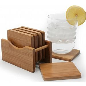Natural Living Set of 6 Acacia Wood Coasters