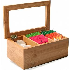 Danesco Ch'a Tea Bamboo Tea Bag Storage Box