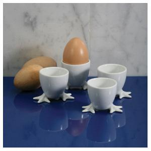 BIA Cordon Bleu Set of 4 White Chicken Feet Egg Cups