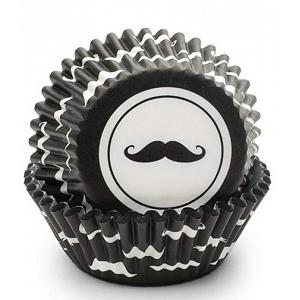 Fox Run Black Mustache Baking Cup Set of 50