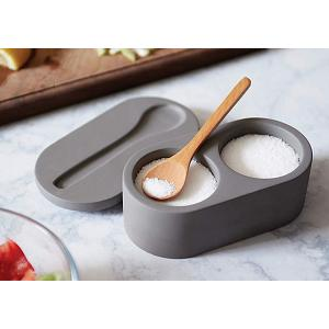 Fox Run Double Cement Salt Cellar with Spoon