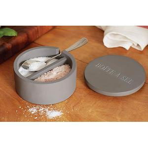 Fox Run Dual Cement Salt Cellar with Spoon