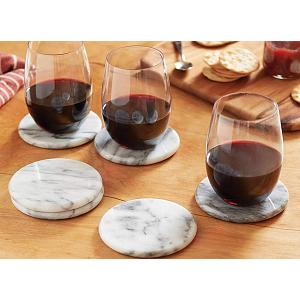 Fox Run White Marble Coaster Set of 6