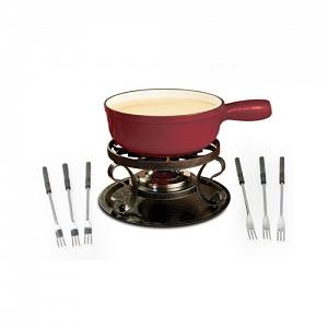 Swissmar Lugano Cherry Red Cheese Fondue Set