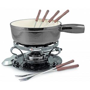Swissmar Metallic Black Lugano Cheese Fondue Set