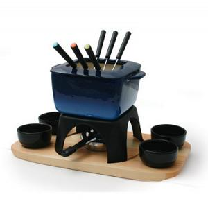 Swissmar Mont Blanc 15-pc Blue Cast Iron Meat Fondue Set