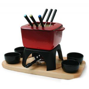 Swissmar Mont Blanc 15-pc Red Cast Iron Meat Fondue Set