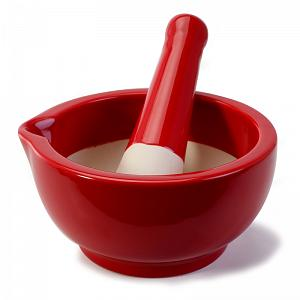 BIA Cordon Bleu Red Stoneware Mortar & Pestle