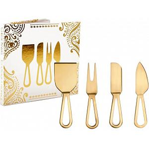 Natural Living Cheese Knife Set with Gold Finish