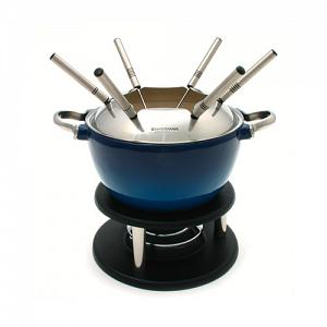 Swissmar Noirmont 10-pc Blue Cast Iron Meat Fondue Set