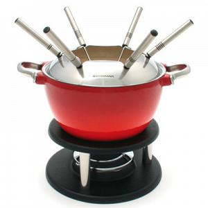 Swissmar Noirmont 10-pc Red Cast Iron Meat Fondue Set