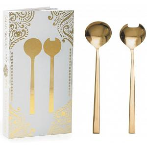 Natural Living Salad Serving Set with Gold Finish