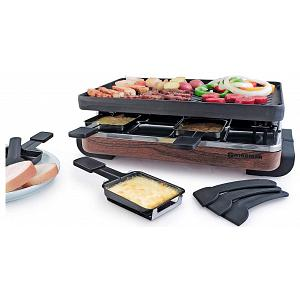 Swissmar 8 Person Wood Classic Raclette w/ Cast Iron Grill