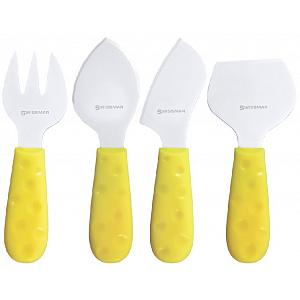 Swissmar Petite Suisse Yellow 4 Piece Cheese Knife Set