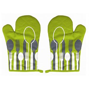 Ziczac Set of 2 Green Spoon Oven Mitts