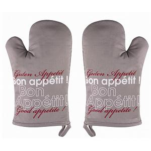 Ziczac Set of 2 Taupe Bon Appetit Oven Mitts